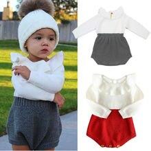 Осенне-зимняя одежда для новорожденных, Одежда для новорожденных малышей, Свитера для девочек, шерстяной комбинезон, вязаная одежда с длинными рукавами, цельнокроеная одежда для детей 0-24 месяцев