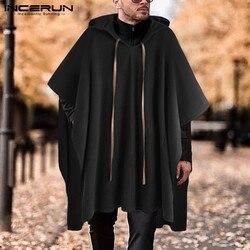 INCERUN, модный Мужской плащ, пальто с капюшоном, однотонная накидка, пончо, 2020, свободное, с v-образным вырезом, уличная одежда, пальто, необычные...