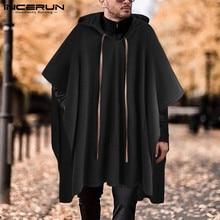 INCERUN Fashion Men Cloak Coats Hooded Solid Color Cape Poncho 2021 Loose V Neck Streetwear Coat Irregular Men Long Trench S-5XL