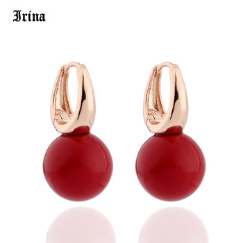 Irina New Arrivals 585 Rose Gold Color Round Pearls Dangle Earrings Women Cute Girls Party Simple Noble Long Jewelry Earing