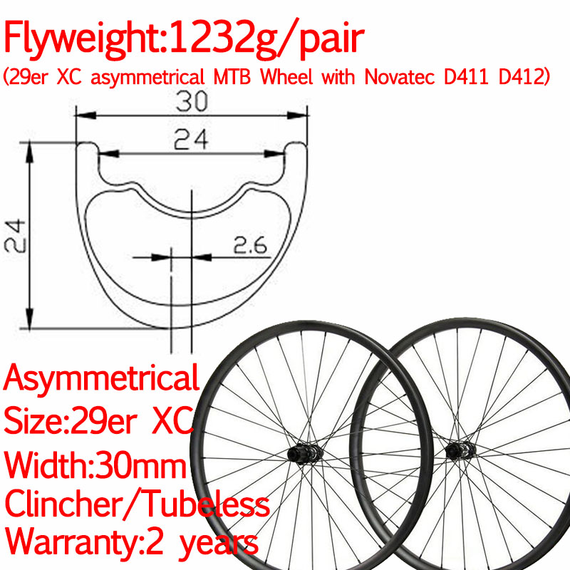 Flyweight XC width 30mm 29er carbon MTB <font><b>bike</b></font> <font><b>wheels</b></font> XD XX1 asymmetric tubeless <font><b>6</b></font> bolt straight pull disc wheelest 12*100 12*142 image