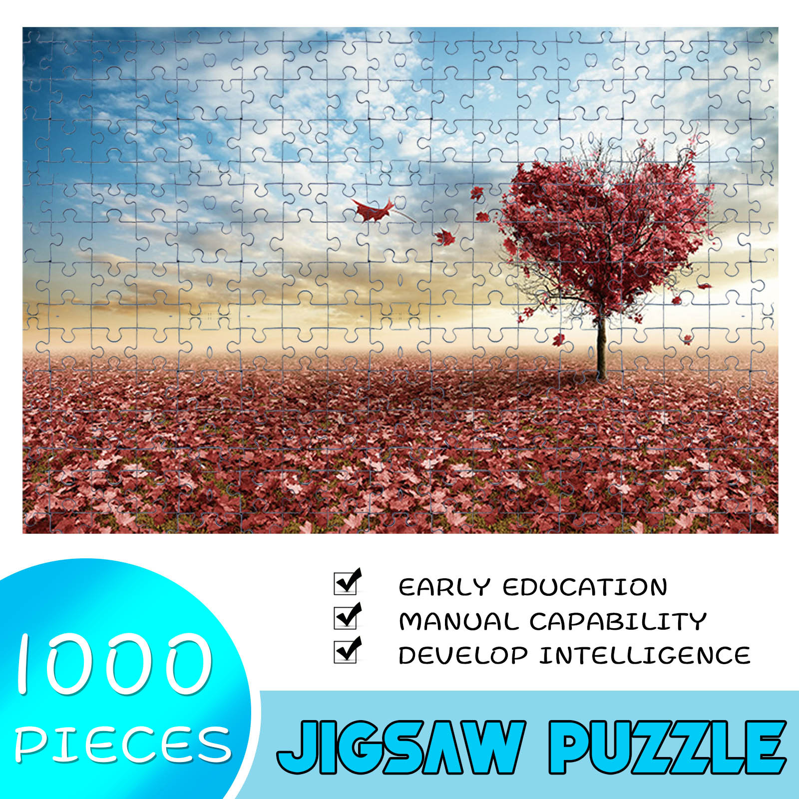 1000 Pieces Jigsaw Puzzle Children's Adult Wooden Puzzle Intelligence Educational Game Toys kids Jigsaw Puzzle toys Stickers 29