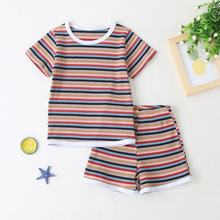 Summer Cotton Baby Girls Clothing Sets Infant Clothes Suits Stripe T Shirt Tops Shorts Kids Sportswear Children Casual Wear цена 2017