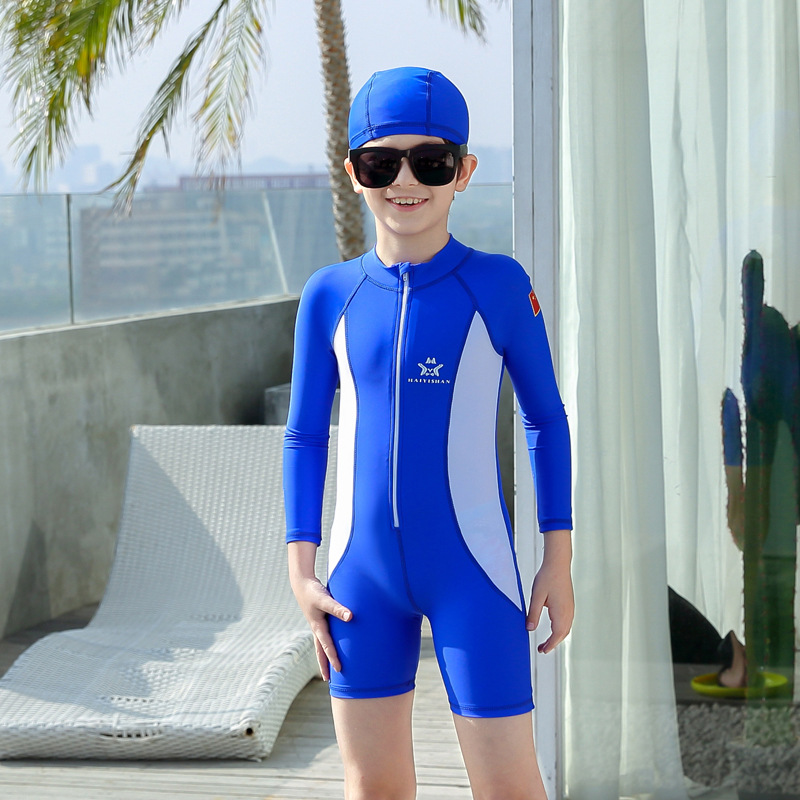 BOY'S Swimsuit One-piece Long Sleeve Small Children Students Tour Bathing Suit Boxers Training Kinematics Swimming Wetsuit