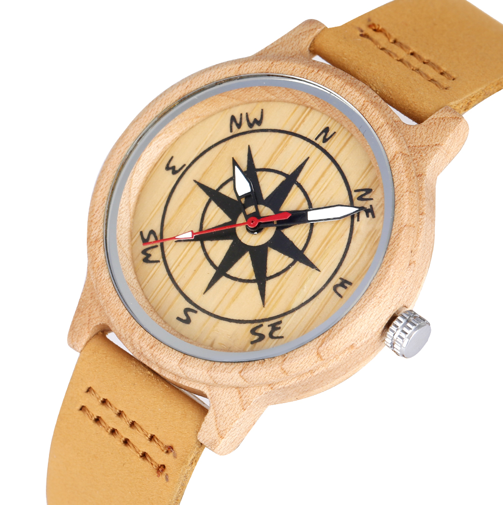 Compass Design Wooden Watches For Women Unique Dial For Men Light Brown Leather Band Luminous Pointers Gift Relojes De Mujer