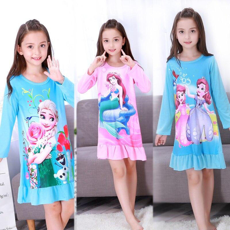 Autumn Big Girls Elsa Princess Nightgown Pajamas Kids Long Sleeved Nightdress Cute Cartoon Child Female Baby Sleeping Dress