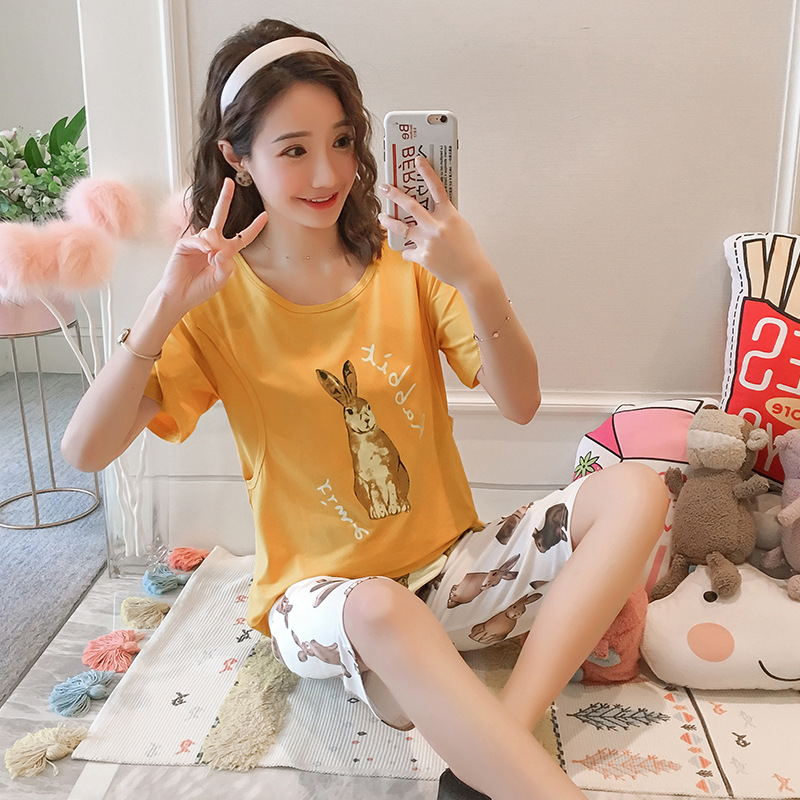 Pregnant Women Confinement Clothing Qmilch Japanese Korean Short Sleeve Summer Lactation Garment Pregnant Women Pajamas Nursing