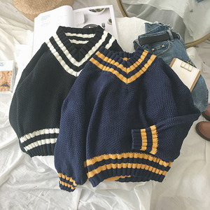 Autumn V-neck Sweater Women Vintage Jumper Blue Knitted Striped Sweaters For Women White Harajuku Sweater Pullover Winter Warm