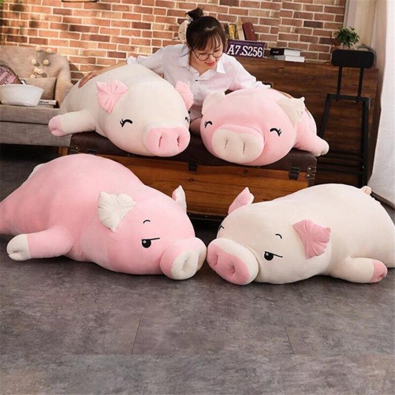 38 110cm deitado de pelúcia piggy brinquedo kawaii animais macio plushie mão mais quente cobertor mole porco recheado boneca crianças presente reconfortante