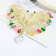 Beautiful Butterfly Brooch Inlay Cubic Zircon Luxurious Pearl Brooches for Women Scarf Buckle XIUMEIYIZU Copper Jewelry