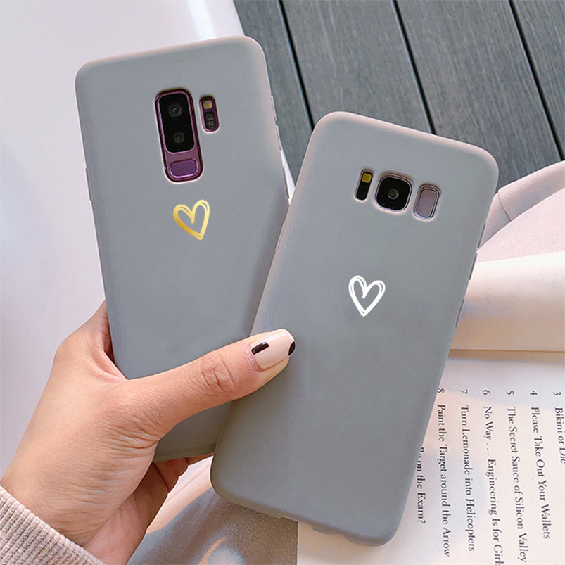 Gray Matte Soft TPU Heart Case For <font><b>Samsung</b></font> Galaxy J3 J5 J7 Prime A5 <font><b>2016</b></font> 2017 J4 J6 J8 A6 Plus A8 <font><b>A9</b></font> A7 2018 Note 5 8 9 10 Cover image