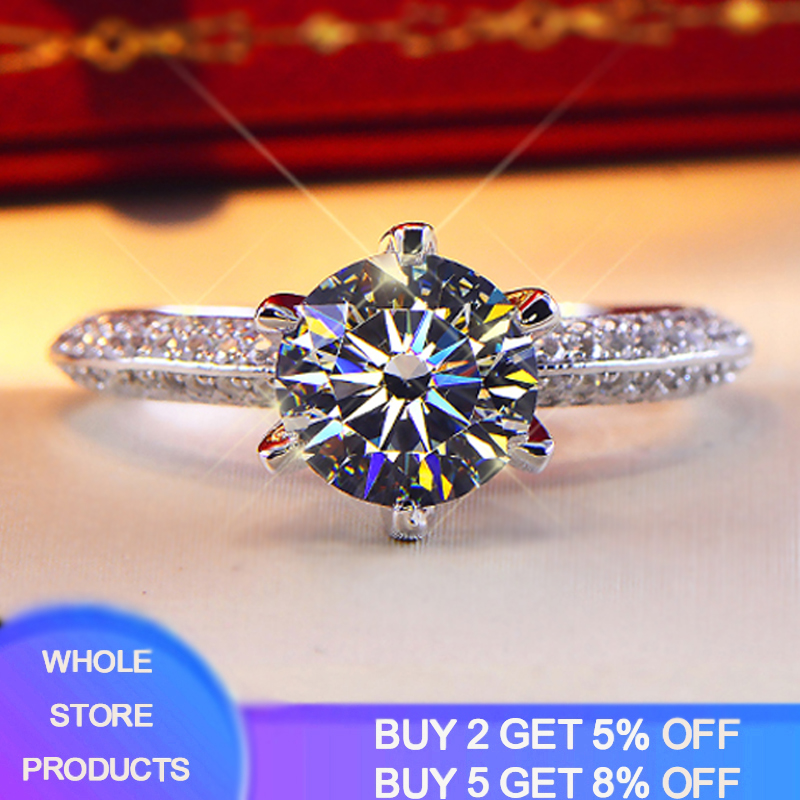 95% OFF! With Certificate Bride Wedding Ring Original 925 Sterling Silver Rings For Women 2ct Moissanite Ring Gift Jewelry HR279
