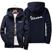 Vespa men's printed hooded jacket, trench coat, zipper, long sleeves, military style, 2021