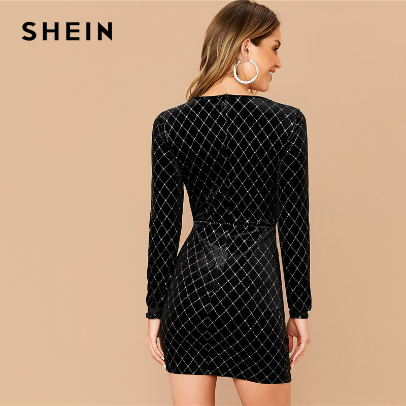 SHEIN Black Mesh Insert Rhinestone Detail Velvet Dress Women Spring Slim Fit Long Sleeve Glamorous Sexy Bodycon Mini Dresses 2