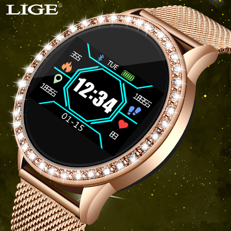 LIGE 2020 New Luxury Women Watch Sports Fitness Tracker For Android Ios Heart Rate Blood Pressure Monitor Pedometer Watch Women
