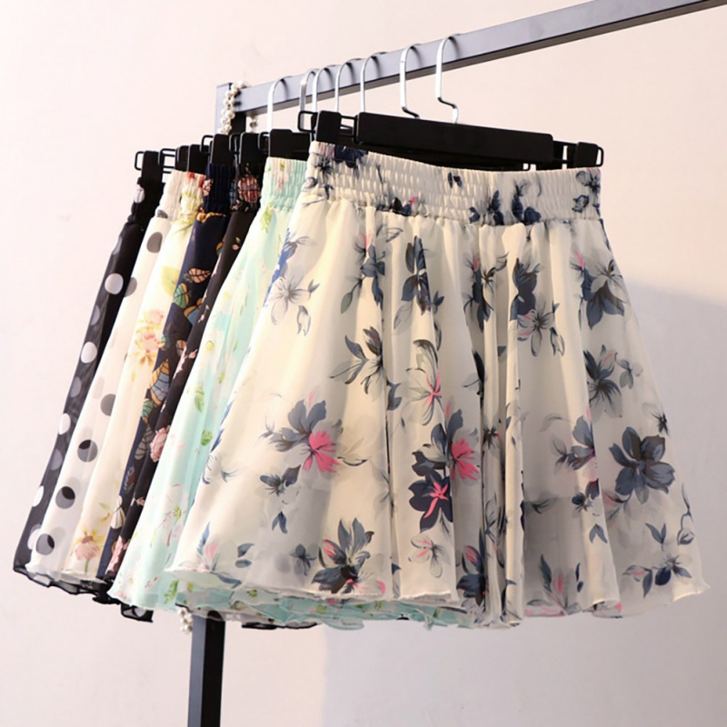 Women Summer Skirt Vintage High Waist Chiffon Printed Mini Skirts Casual Pleated Short A-Line Skirt Plus Size