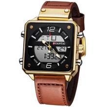 DUANTAI Mens New Fashion Dual Display Square Watch Men's Mul