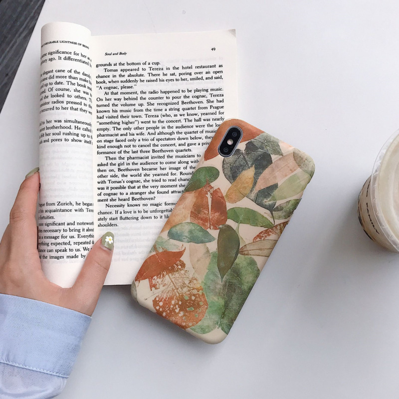Korean style retro illustration leaf phone case for iPhone X XS XR XSMax 8 7 6 6S PluS liquid silicone drop protection cover