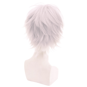 Image 3 - L email wig Brand New Men Cosplay Wigs 30cm Heat Resistant Short Grey White with Pink Color Synthetic Hair Halloween Cosplay Wig