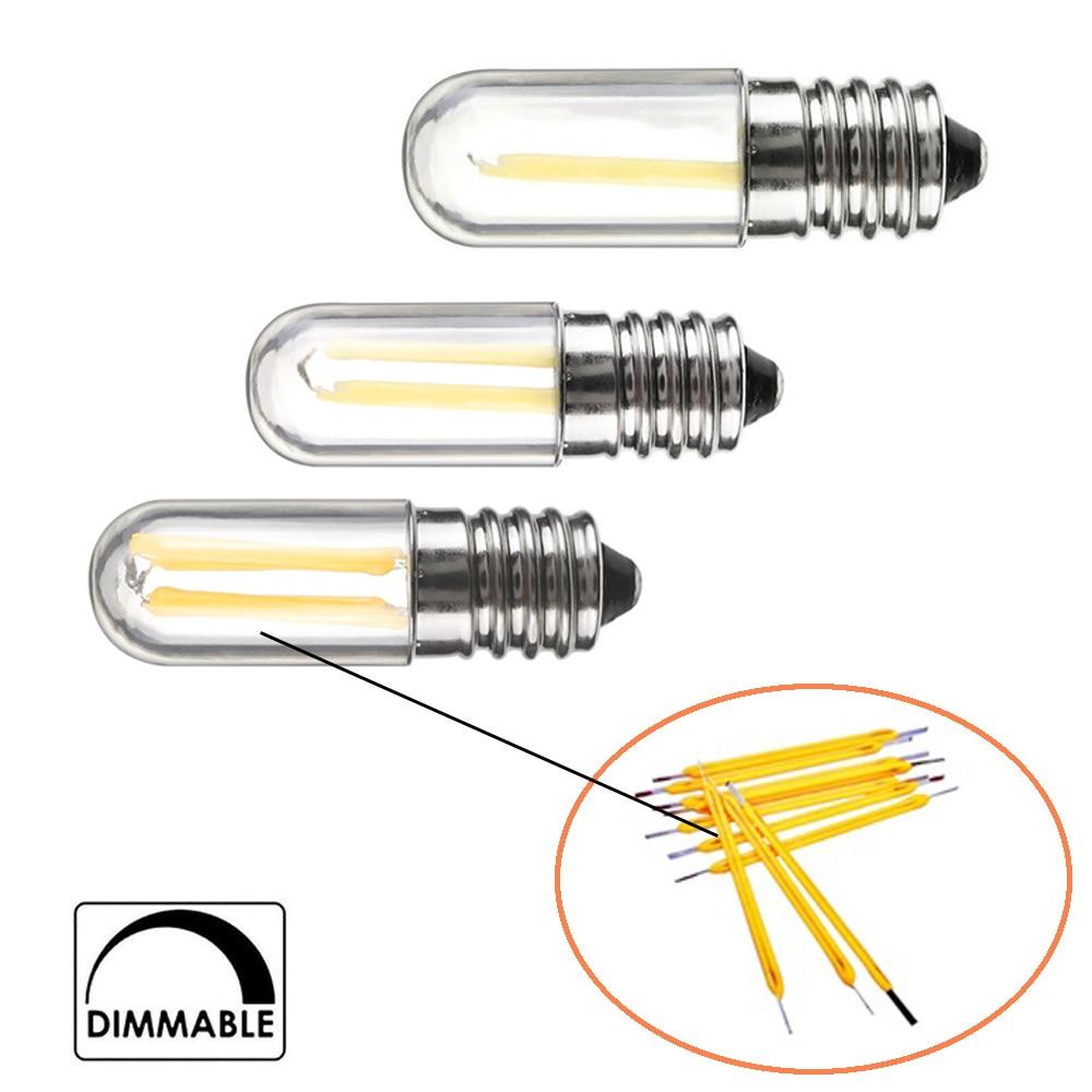 E12 E14 Светодиодный светильник с регулируемой яркостью 110 В 220 В лампа для холодильника 4 Вт лампа накаливания COB лампа для люстры Замена 30 Вт га...