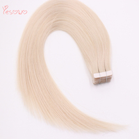 Yesowo 1000# 14 22 Salon Tape Style 20PCS Skin Weft 1000# White Tape Hair Extensions Straight Real Brazillian Virgin Hair