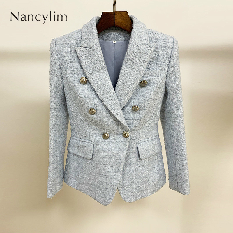 2019 Autumn and Winter Tweed Suit Jacket Women Small Coat Metal Buckle Double Row Buckle Wool Coat Blazers