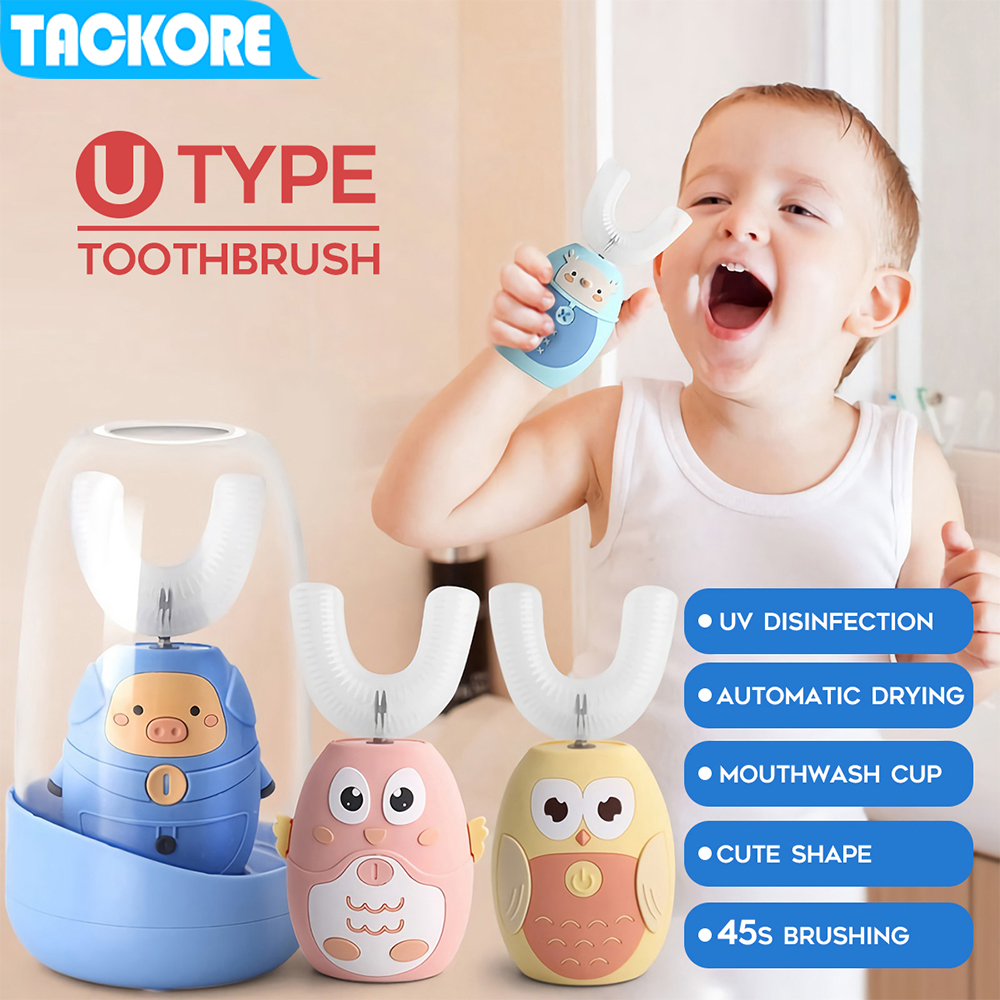 Tackore Kid Sonic Electric Toothbrush Automatic 360 degree toothbrush ultrasonic soft silicone electric children toothbrush