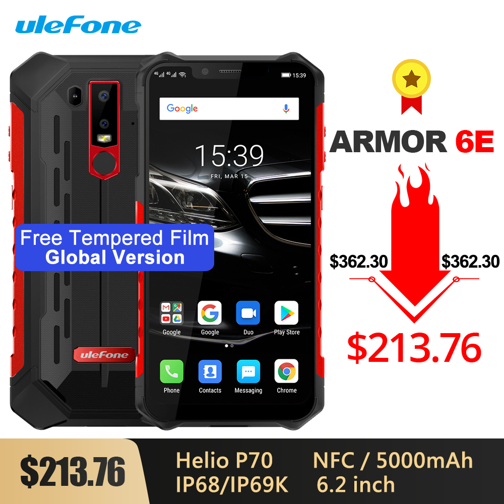 Ulefone Armor 6E Waterproof IP68/IP69 Rugged Phone 6.2'' Helio P70 Otca-core Android 9.0 4GB+64GB Wireless Charge NFC Smartphone