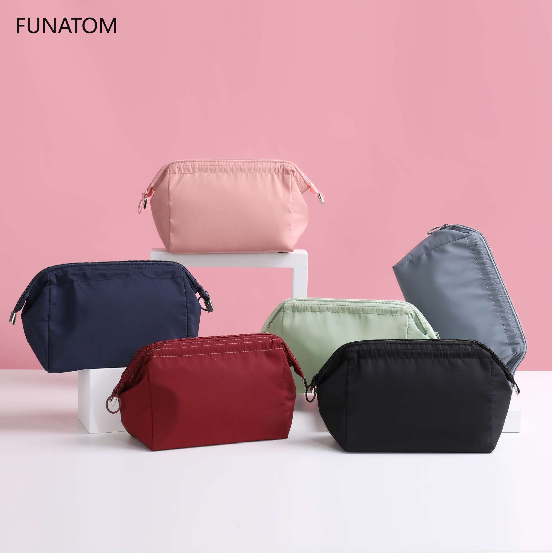 New Women Non-woven Travel Portable Cosmetic Bag Makeup Case Pouch Toiletry Organizer Storage Black Blue Pink Purple Orange