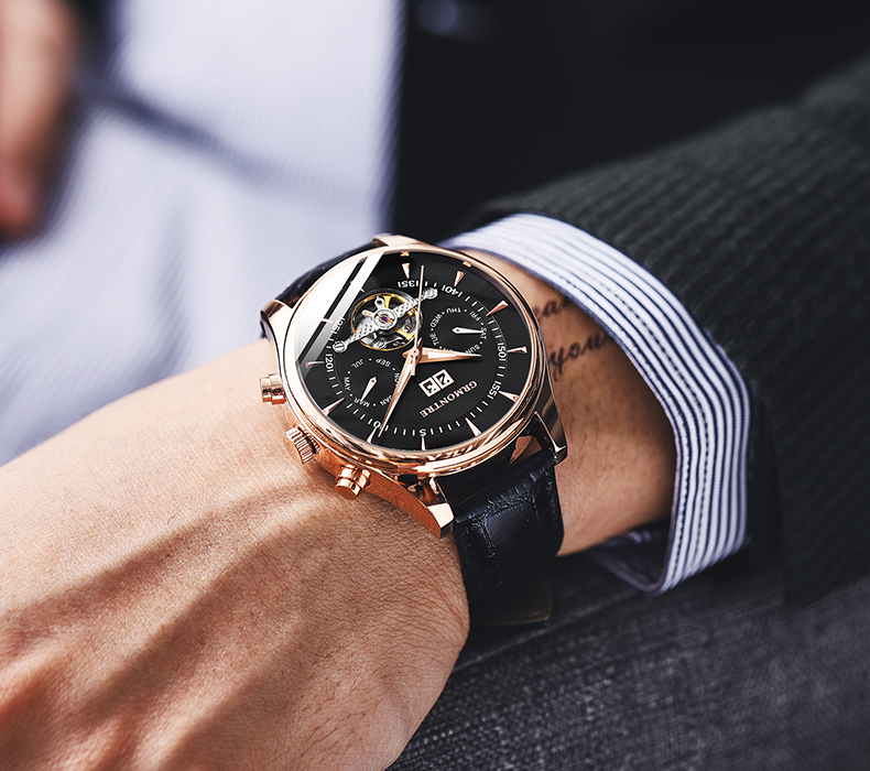 H90a4c6b2e15e4b9da32859cc0160a6e3T Skeleton Tourbillon Mechanical Watch Men Automatic Classic Rose Gold Leather Mechanical Wrist Watches Reloj Hombre 2018 Luxury