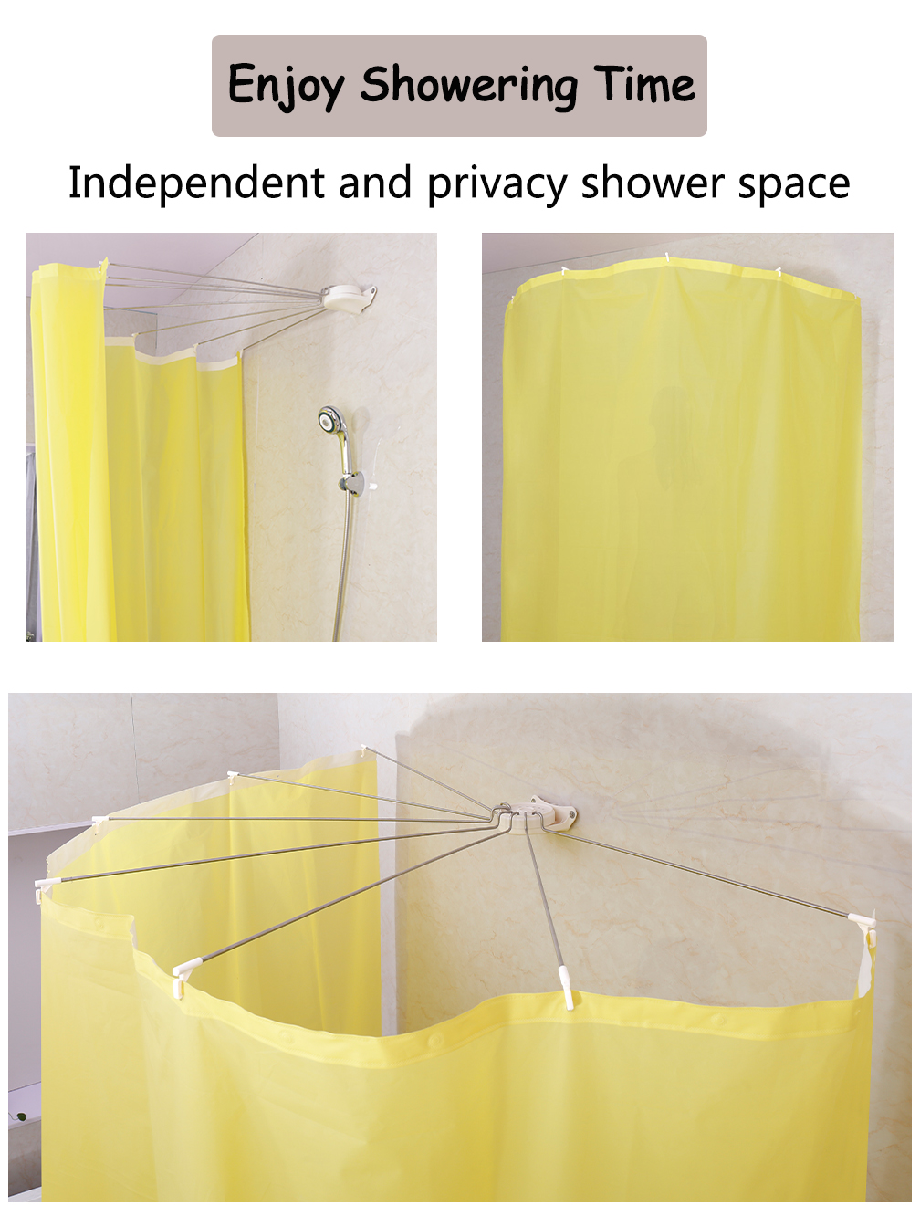 Baoyouni Foldable Wall Mounted Shower Curtain Rod Metal Space Saver Fan Shaped Bathroom Curtain Holder Rail With Hooks Dq1609