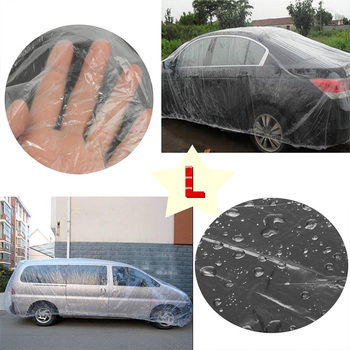 Snow Car Cover Rain Dust Plastic Temporary Disposable Waterproof Garage Universal SUV Transparent Car Covers Automobiles & Motorcycles -
