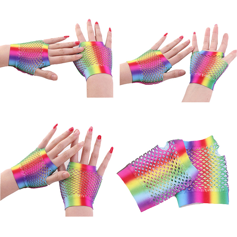 Female FingerlessTouch Screen Mittens Sexy Rainbow Short Fishnet Half Finger Glove Women Elastic Punk Nightclub Dance Gloves H60