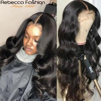 Rebecca vücut dalga dantel ön peruk 13X4 İnsan saç peruk 8-30 inç brezilyalı ön koparıp dantel ön İnsan saç peruk bebek saç ile