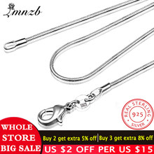 LMNZB 100% Authentieke Solid 925 Sterling Zilveren Choker Kettingen Fine Sieraden 1mm Breed Snake Collier voor Vrouwen LYDHX01(China)