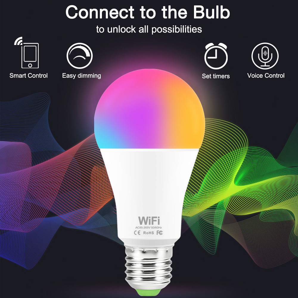E27/B22 Magic Light WiFi Smart Light Bulb 15W AC85-265V RGB WiFi Dimmable Multicolor LED Light work with Alexa Echo Google Home