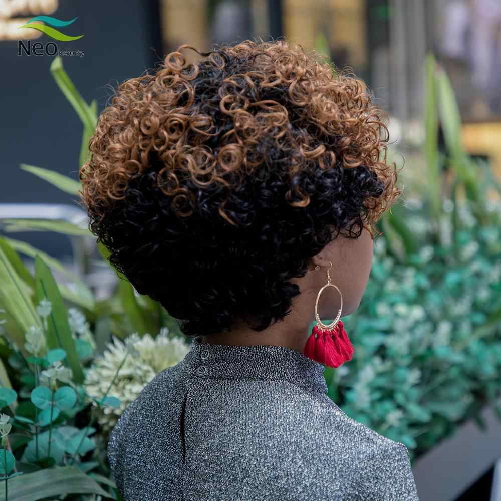 Pixie Cut Jerry Krullend Menselijk Haar Pruik Volledige Machine Pruiken Menselijk Haar Pruiken Voor Zwarte Vrouwen Onzichtbare Krullend Korte Bob pruik
