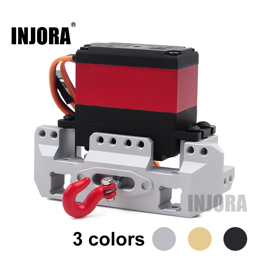 INJORA Metal Front Servo Stand 25T Steering Gear Servo Winch Wheel For 1/10 RC Crawler Car Traxxas TRX4