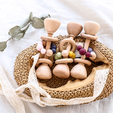 1pc Baby Wooden Rattle Toys Beech Mobile Music Rattle Silicone Beads Wooden Gym Stroller Baby Toys Newborn Educational Pram Toys