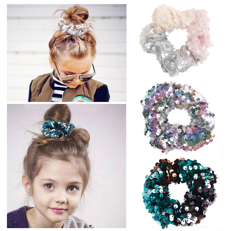 Elastic Hair Bands Two-color Mermaid Sequins  Elastic Rubber Band Children's Hair Circle Ponytail Hair Girls Hair Accessories