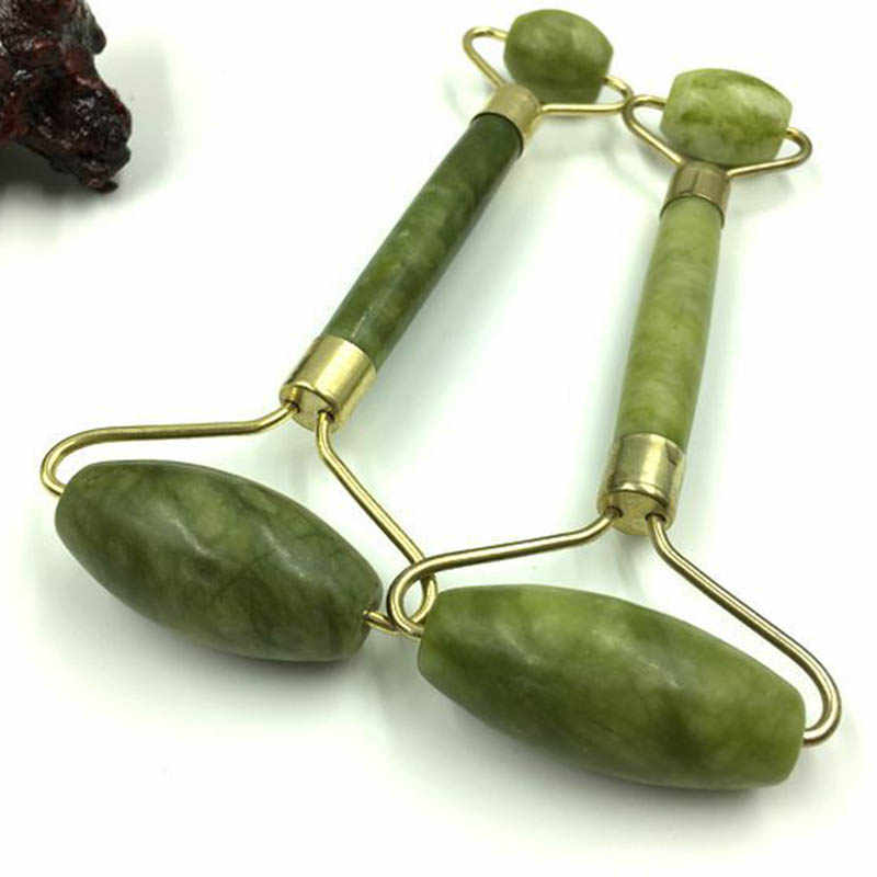 Facial Jade Push Massageador Face Lift Tools Face Massager Skin Care Natural Jade Roller Double Head Facial Beauty Massage Tool