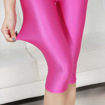 CUHAKCI Women Sexy Leggings Summer Capris Neon High Waist Jeggings Large Size Plus Spandex Female Fitness Thin Short Pants 1