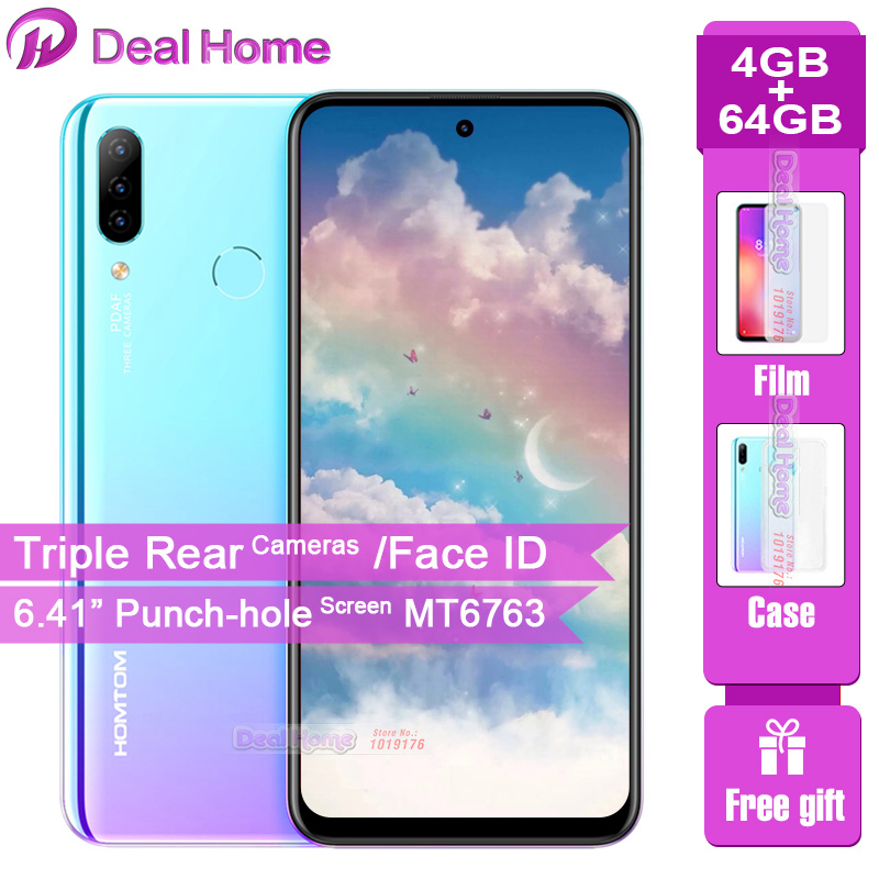 "HOMTOM P30 Pro Triple Rear Camera Mobile Phone 4GB 64GB 4000mAh 6.41""Punch -hole Screen Face ID MT6763 Octa Core 4G Smartphone"