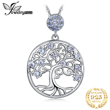 JPalace Life Tree Created Spinel Pendant Necklace 925 Sterling Silver Gemstones Choker Statement Necklace Women Without Chain