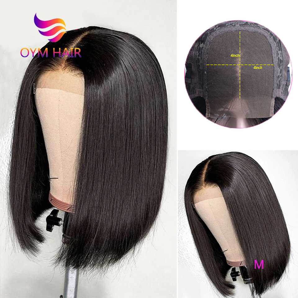 OYM HAIR 4x4 Short Bob Wigs Lace Closure Wig Human Hair Wigs Straight Pre Plucked Hairline Baby Hair 150% Brazilian Remy Hair