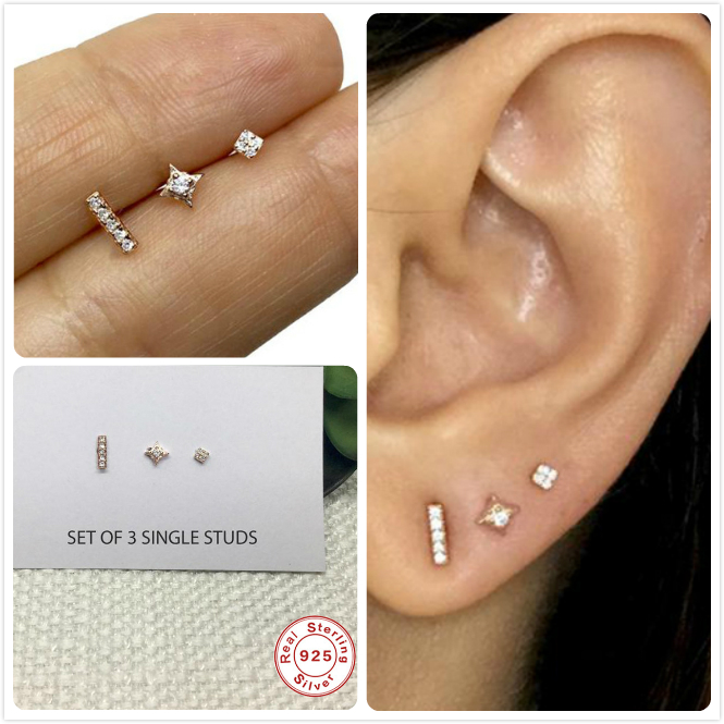 3Pcs/set Real 925 Silver Earrings For Women Small Zircon Earrings Girl Gift Cartilage Piercing Earrings Female Dainty Aretes R5