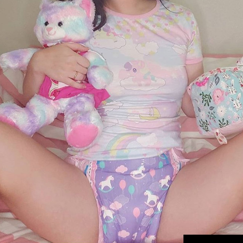 Bunny bear adult baby diaper disposable diaper ABDL/ddlg incontinence underwear  3 pieces