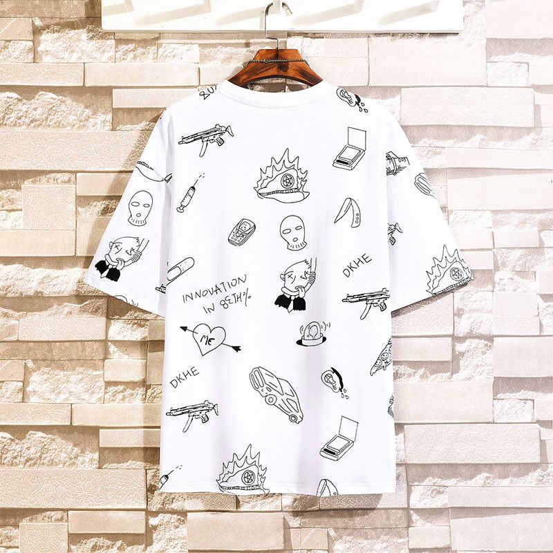Singleroad Man Zwarte T-shirt Mannen Oversized Full Print Katoen Punk Hip Hop Japanse Streetwear Harajuku Tshirt Mannelijke T-shirt mannen