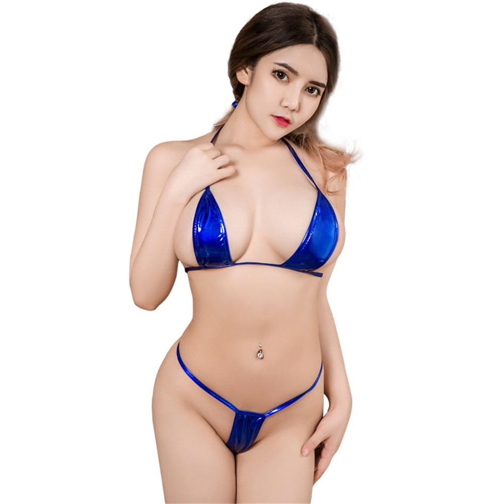 sexy micro bikini 2019 Patent leather Pure color Bandage Adjustable Super small sexi bikinis set swimwear women swimsuit biquini-0