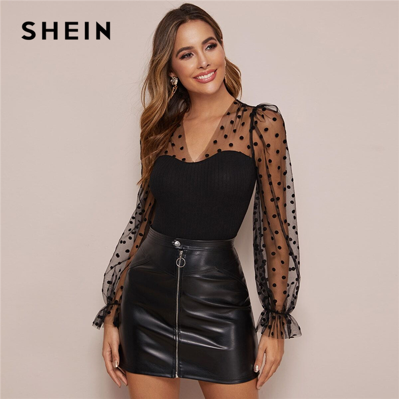 SHEIN Black V Neck Polka Dot Mesh Glamorous Tee Women Tops Spring Flounce Sleeve Form Fitted Ruffle Laides Elegant Tops And Tees